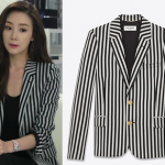 Saint Laurent Classic Jacket in Black and White Striped Wool