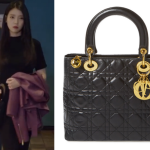 Dior Black Lambskin Lady Dior Bag