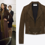 Gong Hyo-Jin's Saint Laurent Cropped Double Breasted Jacket in Coffee Suede