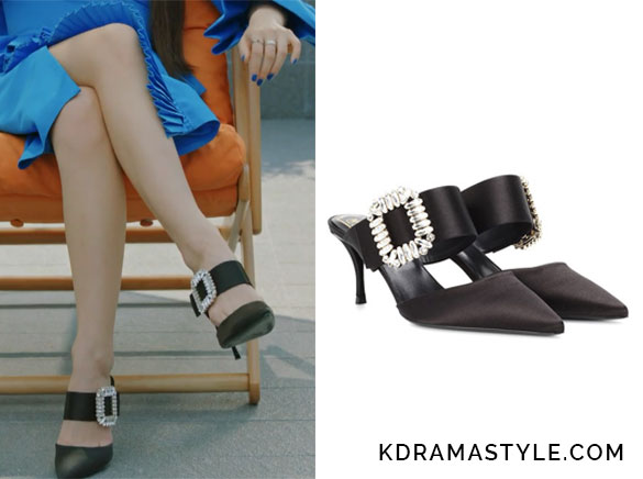 Krystal's Black Heels with Crystal Buckles - Roger Vivier satin crystal-embellished mules