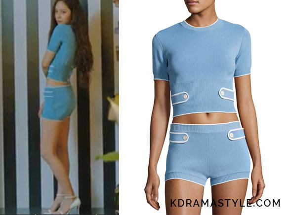 Krystal's Blue Knit Shorts and Crop Top - Miu Miu Knit Short-Sleeve Crop Top in Light Blue