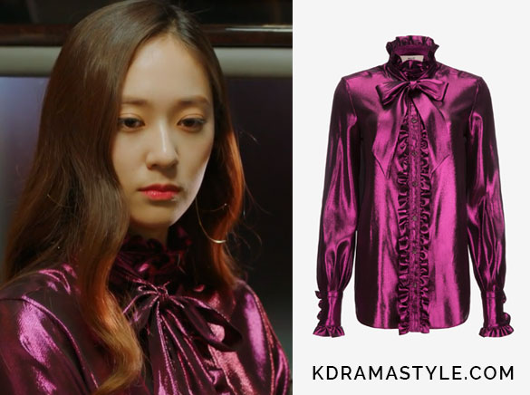 Krystal's Purple Ruffled Blouse with Bow - Bally Rouched Pussy Bow Blouse