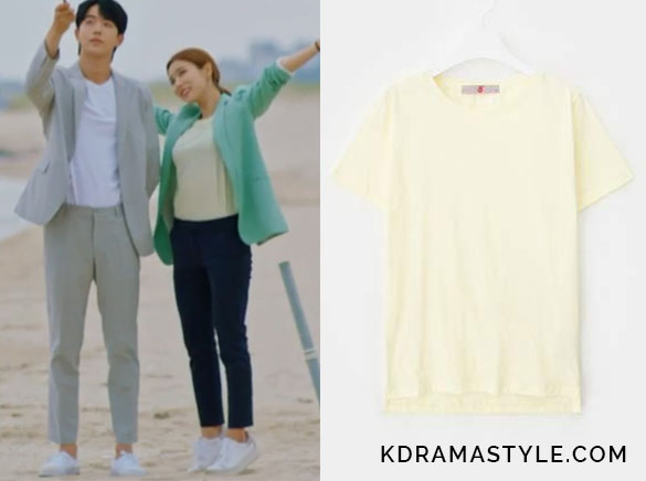 Yoon So Ah's Pale Yellow T-Shirt - 8 Seconds 2017 SS Lemon Round Neck Basic Short Sleeve T-shirt