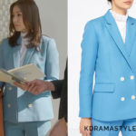 Hong Yoon Hee's Light Blue Jacket - Sandro Aquarelle Double-Breasted Blazer