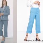 Hong Yoon Hee's Light Blue Pants - Sandro Cropped Wide Leg Tailored Trousers