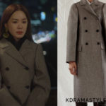 Yoo Ji Na's Brown Double Breasted Coat - Celine Double Breasted Coat in Double Face Technical Wool 28S817158.18TI