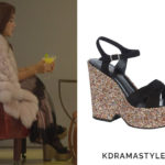 Yoo Ji Na's Glitter Platform Sandals - Saint Laurent Platform Glitter-Wedge Suede Sandals