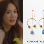 Yoo Ji Na's Gold Dot Arc Earrings - Celine Dot Mixed Arc Earrings in Azul Macauba and Gold Brass and Natural Stone 46H956MBR.07BL