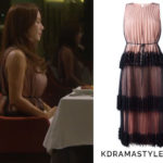 Yoo Ji Na's Pink Dress with Black Lace - Christopher Kane Pleated Tulle Dress