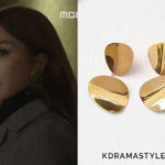 Yoo Ji Na's Large Round Gold Earrings - Celine Petal Large Earrings in Gold Brass 46I036BRA.35OR