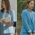 Who Wore it Best: Yoon So Ah vs. Hong Yoon Hee Sandro Light Blue Double-Breasted Blazer