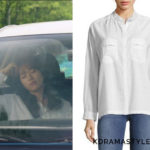 Oh Yeon-Joo's White Blouse - Zadig & Voltaire Turn Stand Collar Cotton Button-Down Shirt