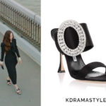 Krystal's Black Heels with Embellished Buckles - Manolo Blahnik Fibiona Black Satin Crystal Sandal