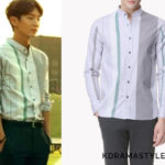 Kim Hyun-Joon's Gray and Green Striped Shirt - System Homme Multi Color Pattern Twill Shirt in Grey