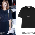 Shin Se Kyung Wears Black T-Shirt at Wrap Up Party for Bride of the Water God - Saint Laurent Printed Cotton-jersey T-shirt in Black
