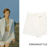 Yoon So Ah's Cream Shorts - Frontrow [Drama Collection] Relaxed Flare Shorts in Cream