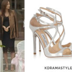 Hong Yoon Hee's Silver Sandals - Jimmy Choo Lance Metallic Leather Sandals in Silver