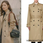 Hong Yoon Hee's Studded Trenchcoat - Valentino Woven Double-Breasted Rockstud Trenchcoat in Beige