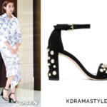 Uee Wears Black Studded Sandals at Press Conference for Manhole - Stuart Weitzman Morepearls Sandals