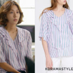 Kang Soo-Jin's Striped Ruffled Blouse - NUVO.10 Striped Cape Blouse