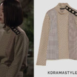 Seo Ji-An's Plaid Top - Zara Patchwork Top With Shoulder Buttons in Sand