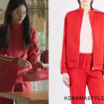 Suzy's Red Track Jacket - Sandro Racer stripe crepe jacket